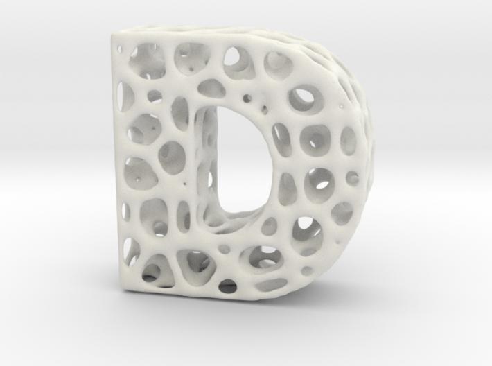 Voronoi Letter ( alphabet ) D 3d printed