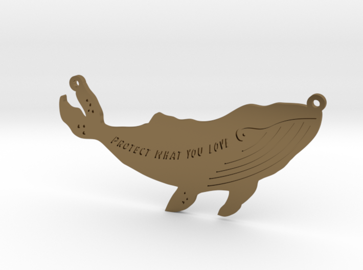 Whale pendant 3d printed