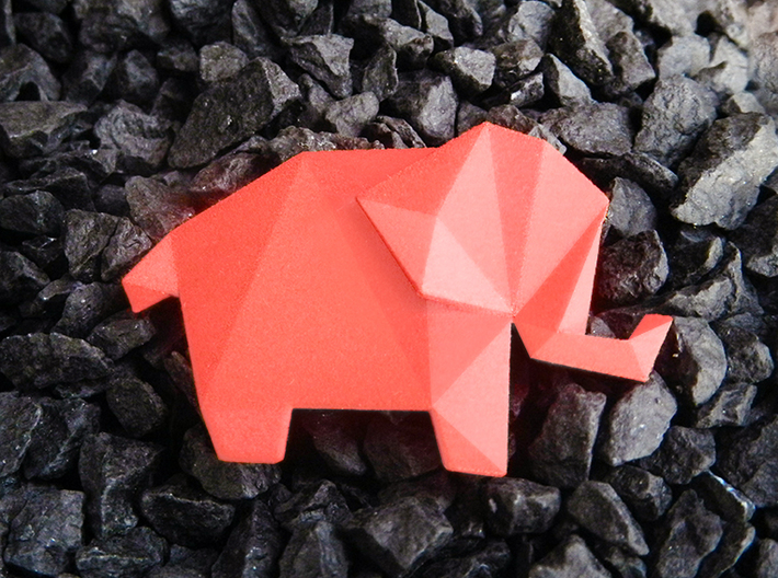 Origami Elephant 3d printed Origami Elephant Pendant in Red, Lovely present for Valentines!