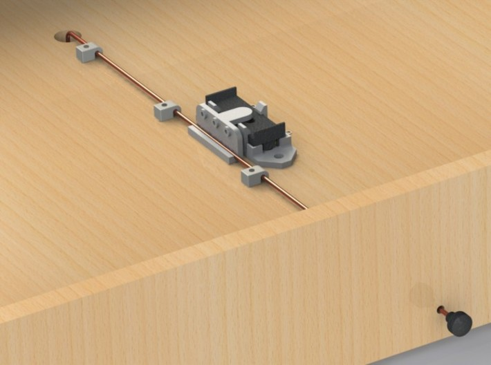 Railroad switch / point actuator for PECO PL-13 3d printed CAD render showing example of use.