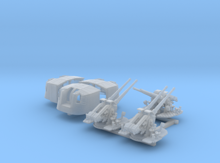 """1/350 4.7"""" MKXII CPXIX Twin Mount x3 25º 3d printed 1/350 4.7"""" MKXII CPXIX Twin Mount x3 25º"""