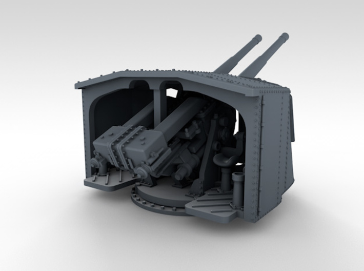 "1/350 4.7"" MKXII CPXIX Twin Mount x3 25º 3d printed 3d render showing product detail"