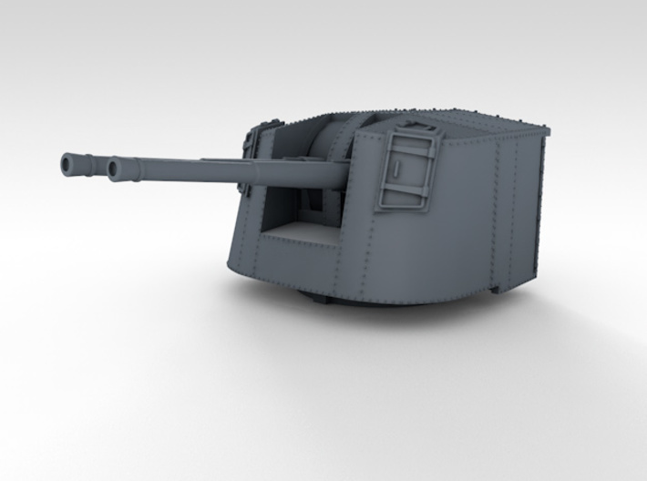 """1/350 4.7"""" MKXII CPXIX Twin Mount x4 Sights Closed 3d printed 3d render showing product detail"""
