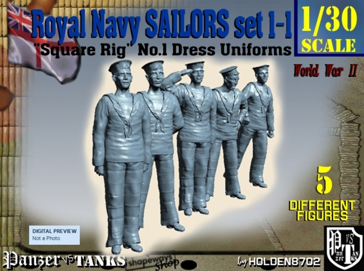 1-30 Royal Navy Sailors Set1-1 3d printed