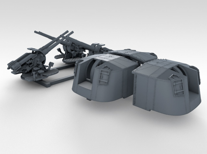"1/350 4.7"" MKXII CPXIX Mount x3 25º Ports Closed 3d printed 3d render showing set"