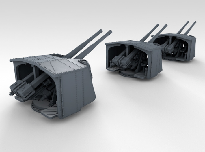 "1/350 4.7"" MKXII CPXIX Mount x3 25º Ports Closed 3d printed 3d render showing assembled set"