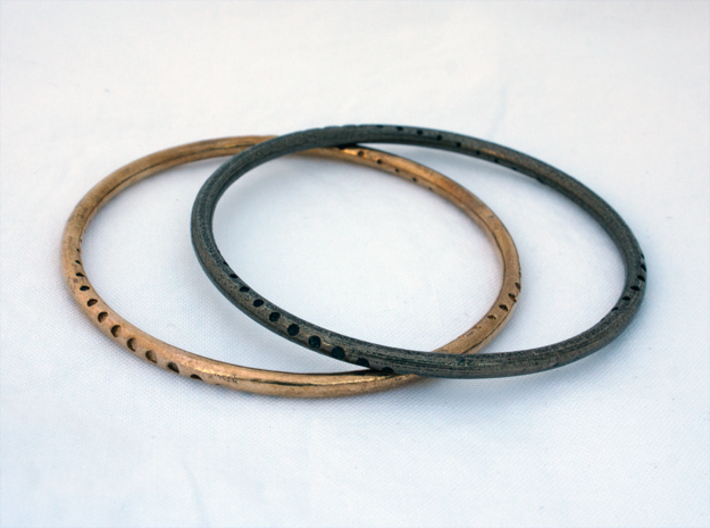 Orbit Bracelet 3d printed Raw Bronze, Polished Gray Steel