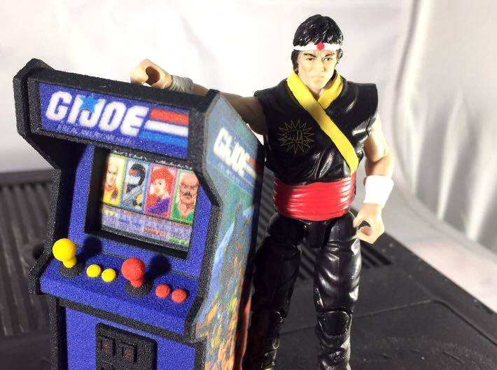 "3 3/4"" Scale G.I.Joe Arcade Game 3d printed Shown with modern G.I.Joe figures for scale"