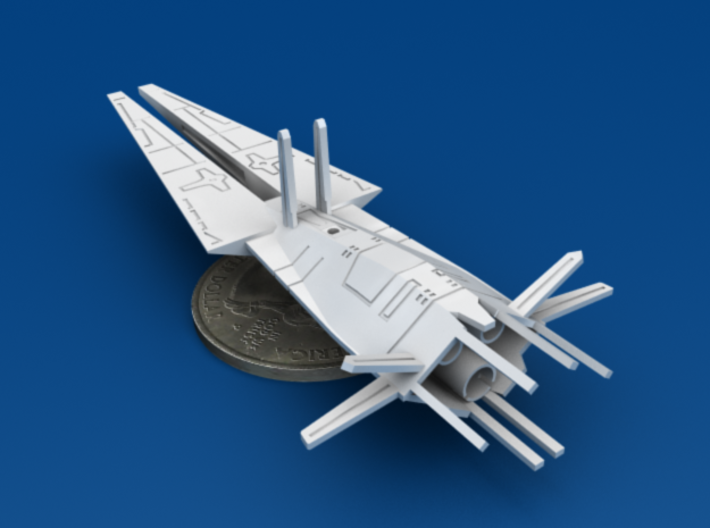 Galactic Scout Ship, New Albion 3d printed Size Comparison to U.S. Quarter, Bottom 3/4