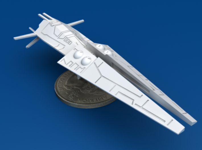 2x Galactic Scout Ships, New Albion 3d printed Size Comparison to U.S. Quarter, Front 3/4
