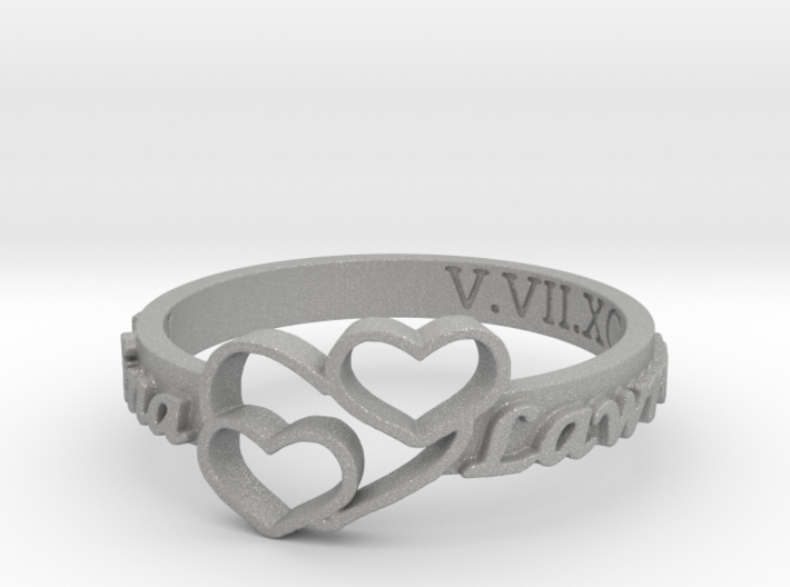 Anniversary Ring with Triple Heart - May 7, 1990 3d printed