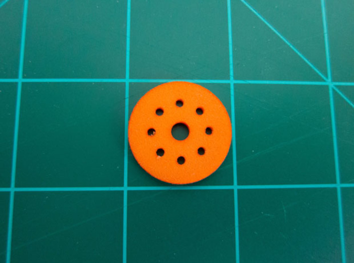 "Bussard Dome Assembly - 1:600 - 02 3d printed Printed part in ""Strong and Flexible"" orange polished plastic."
