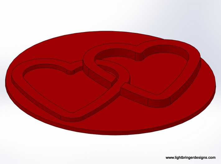 Linked Hearts Wax Seal 3d printed The wax, from an angle.