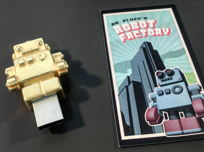 "Gold USB Robot Drive, ""Bling Bob"" 3d printed small object of desire"