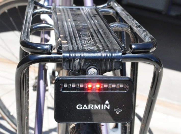 Garmin Varia mount for Topeak racks 3d printed Bracket with K-Edge insert and Garmin Varia installed.
