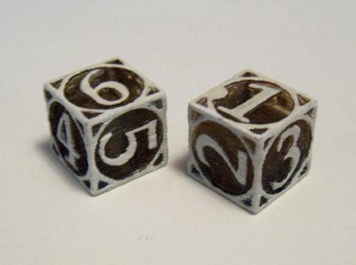 Circle Theme d6 3d printed In Transparent Detail, dyed with tea and drybrushed with white acrylic paint.