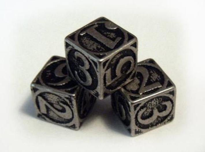 Circle Theme d6 3d printed Stainless steel and inked.