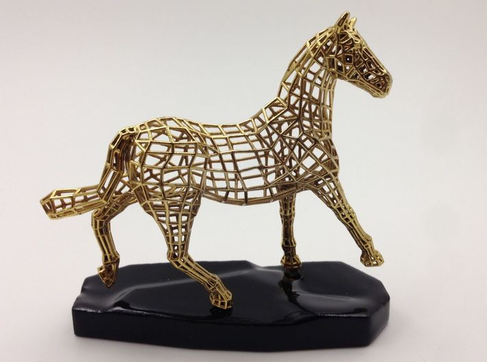 Year of the Horse - Elegance 3d printed Actual Photograph - Gold Plated and 3D printed Ceramic Base