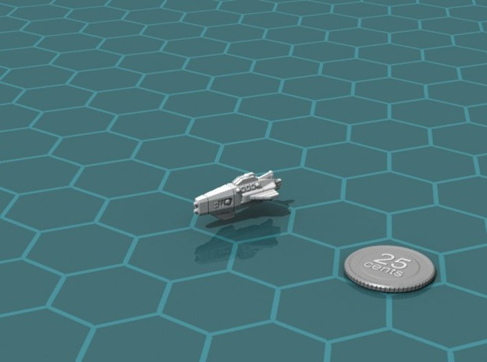 Ikennek Gunboat 3d printed Render of the model, with a virtual quarter for scale.
