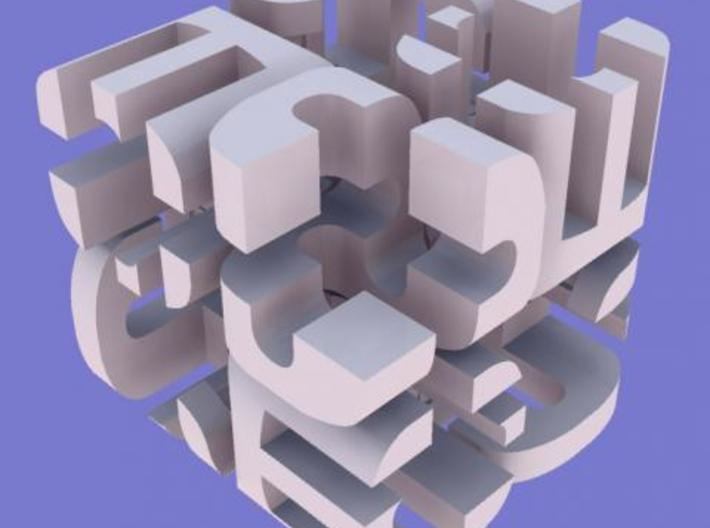 """""""Cube"""" Cube 3d printed Rhino render from a corner."""