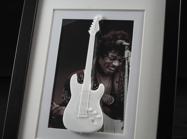 Stratocaster guitar for photo frame 3d printed Jimi Hendrix with Stratocaster