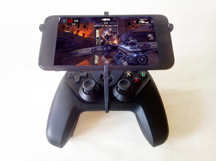 Steelseries Nimbus & Apple iPad Pro 12.9 (2015) -  3d printed Nimbus with iPhone 7 - Over the top - Front view