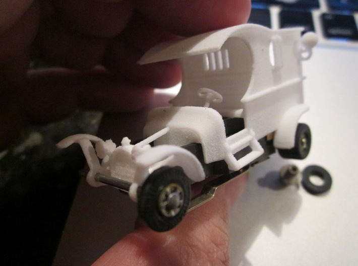 """T-Jet HO Slot Car Body """"Miss Demeanor"""" 3d printed Shown assembled on a T-jet chassis (not included)."""