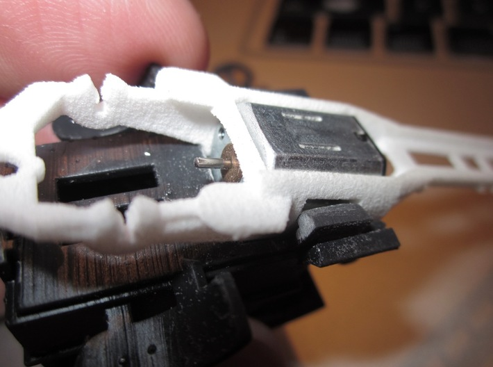 """HWP HO Slot Car Body """"Miss Demeanor"""" 3d printed I'm not yet sure how brittle the resin plastic is... and I didn't want to push my luck. A little LIGHT sanding on the body's chassis clips was needed to ensure a snug fit. The acrylate resin sands easier than styrene, so use a light touch, and frequently"""
