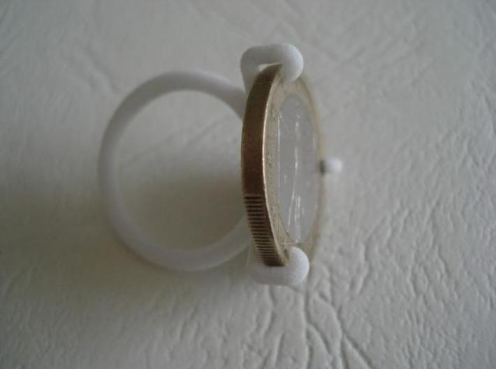 Euro-Ring - Size 9 - 1 euro 3d printed Another picture with a coin