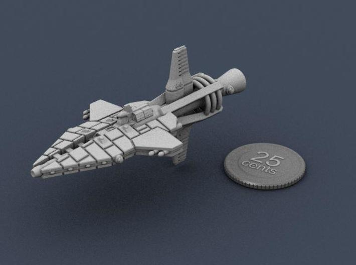Mavridean Ularens class Dreadnought 3d printed A render of the ship, plus a virtual quarter for scale.