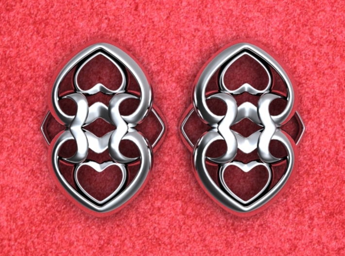 Heart Motif Earring 3d printed Heart motif earrings reverse. NOTE: Order 2 for a pair.