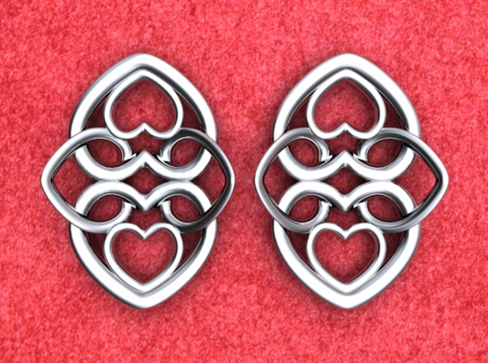 Heart Motif Earring 3d printed Heart motif earrings front. NOTE: Order 2 for a pair.