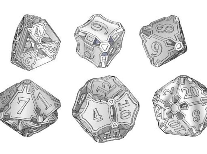 Premier Dice Set 3d printed A set of polyhedral dice.