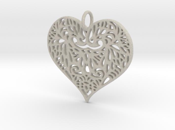 Beautiful Romantic Lace Heart Pendant Charm 3d printed