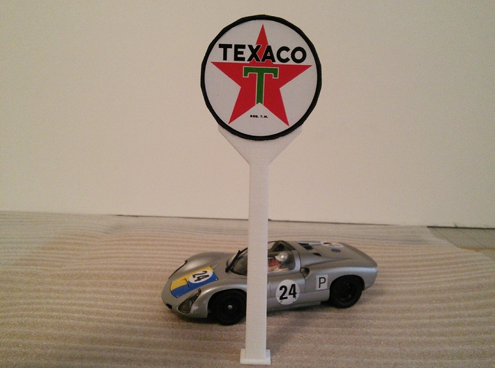 Gas Station Sign Post, 1/32 Scale 3d printed Printed in White Strong & Flexible Plastic with Texaco logo glued to disk.