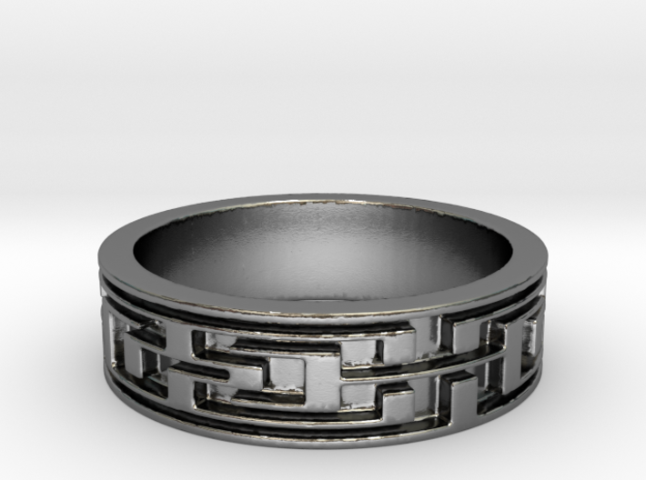 Polished Silver Maze Ring Size 8.25 3d printed