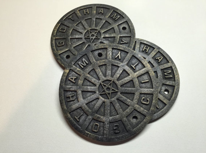 Gotham City Manhole – Sixth Scale 3d printed These have been painted to look realistic