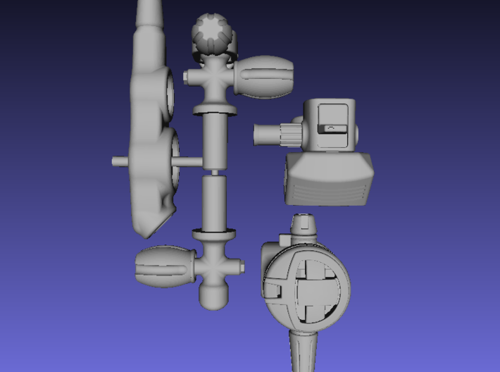 1/6 Scale Scuba Diving Equipment,Regulators/Tank V 3d printed