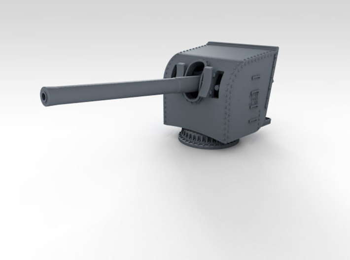 "1/350 HMS Hood 5.5"" MKI Gun Shield Open x12 3d printed 3d render showing assembled part (Gun sold separately)"