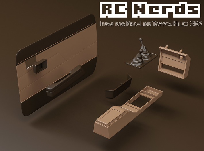 RCN021 Middle console car panel with stick shifts  3d printed