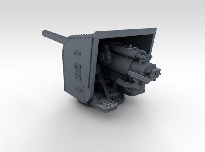 "1/600 HMS Hood 5.5"" MKI Guns Ports Open x12 3d printed 3d render showing product detail"
