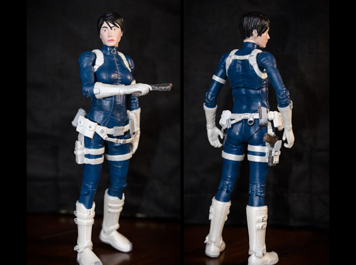 FB01-BeltPack-06s  6inch 3d printed Belts printed in White Strong & Flexible Polished were used on this figure