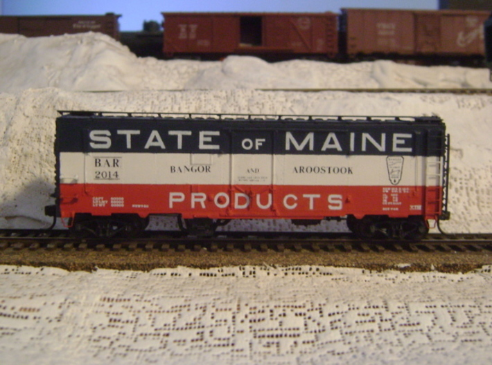 """""""State of Maine""""-style HO Charcoal Heater Kit 3d printed Our charcoal heater added to an old Funaro and Camerlengo HO scale Bangor and Aroostook boxcar."""