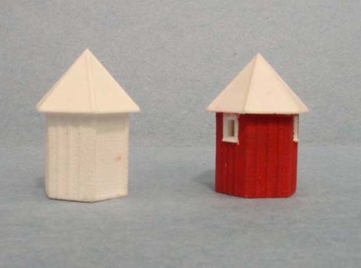 3 pack N scale Santa Fe Hexagonal Phone booth   3d printed Right side showing cleaned, painted model..