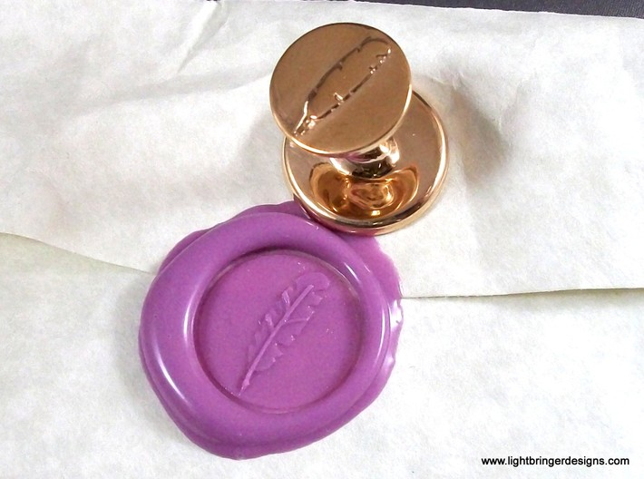 Quill Pen Wax Seal 3d printed Quill Pen Wax Seal in Polished Bronze has a bit more detail on the plumage.