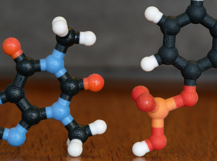 Dopamine Molecule. 3d printed Coated (left) and non-Coated (right) Full Color Sandstone. Coating gives a much smoother feel.