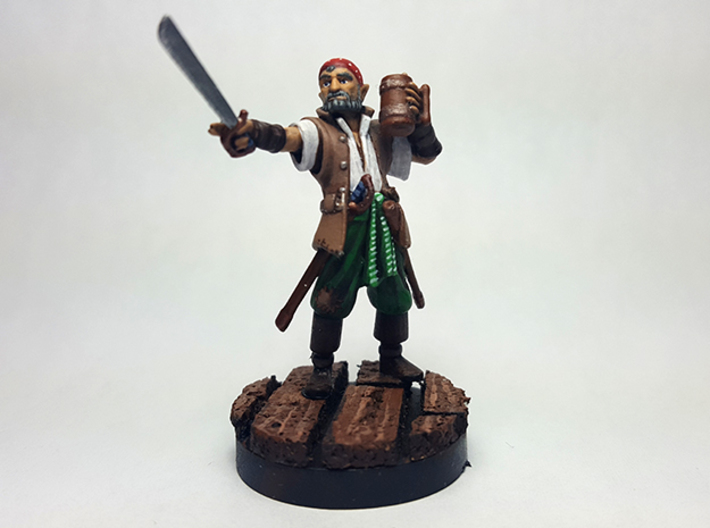 Half Elf Pirate 3d printed Painted with acrylic paints on a custom 1 inch base.