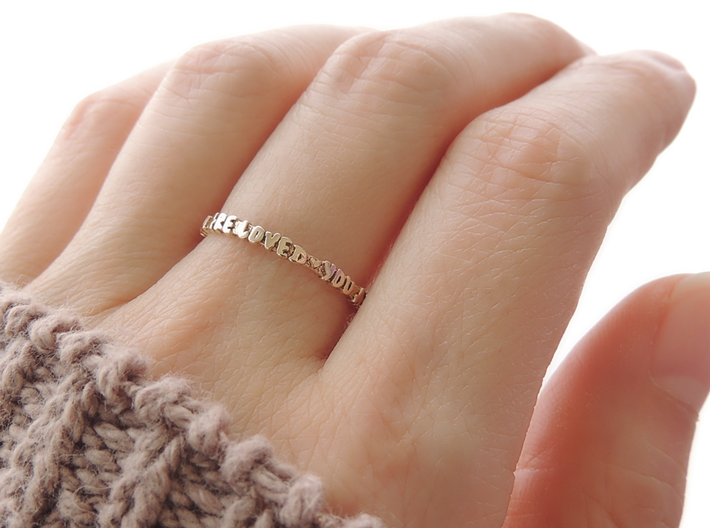 You Are Loved Ring (Multiple Sizes) 3d printed 'You Are Loved' Ring in Polished Bronze