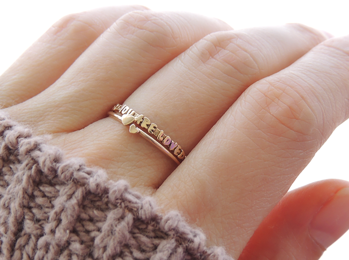 You Are Loved Ring (Multiple Sizes) 3d printed 'You Are Loved' and Twin Heart Ring in Polished Bronze