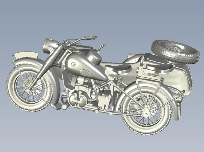 1/87 scale WWII Wehrmacht motorcycle x 1 3d printed